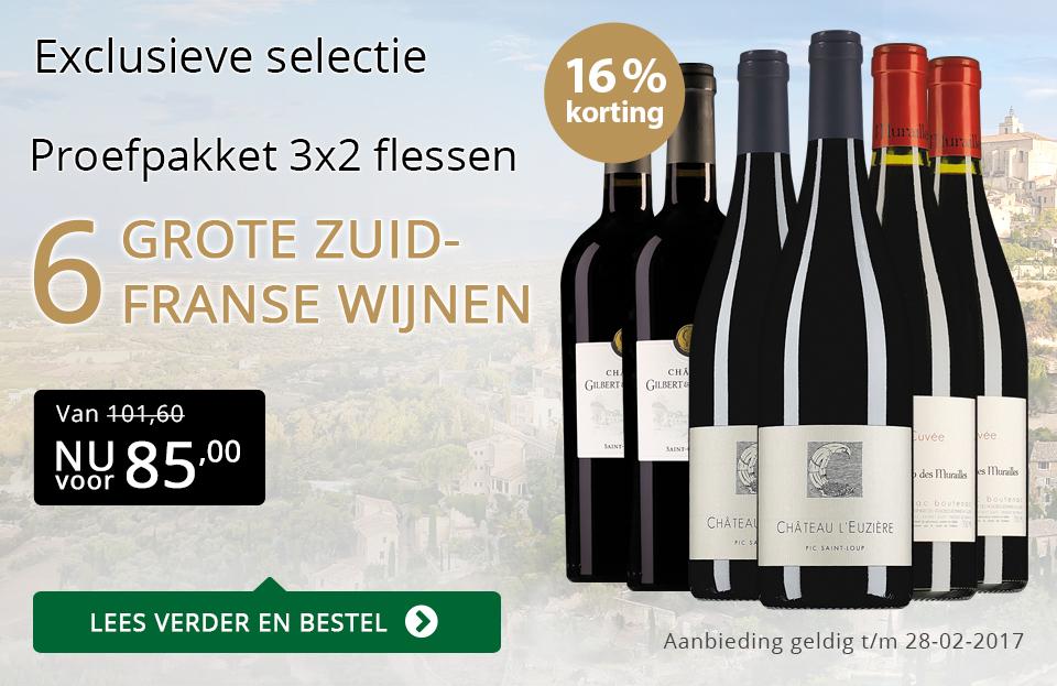 Proefpakket 6 grote Zuid-Franse wijnen (85,00) - goud/zwart