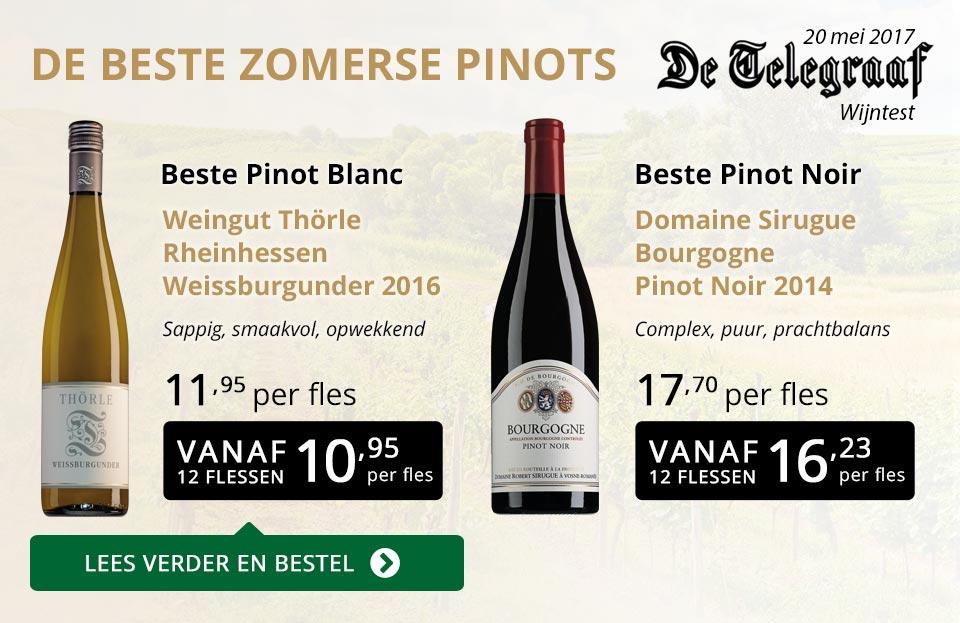De Telegraaf wijntest: De beste zomerse pinots - goud/zwart