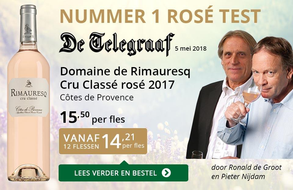 Dia Nr 1 Telegraaf rosé test - Rimauresq Cru Classé 2017 - goud/zwart