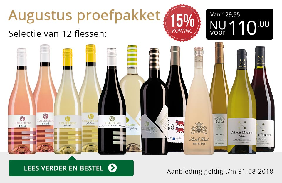 Proefpakket wijnbericht augustus 2018 (110,00) - goud/zwart