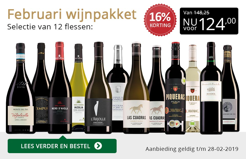 Wijnpakket wijnbericht februari 2019 (124,00) - goud/zwart