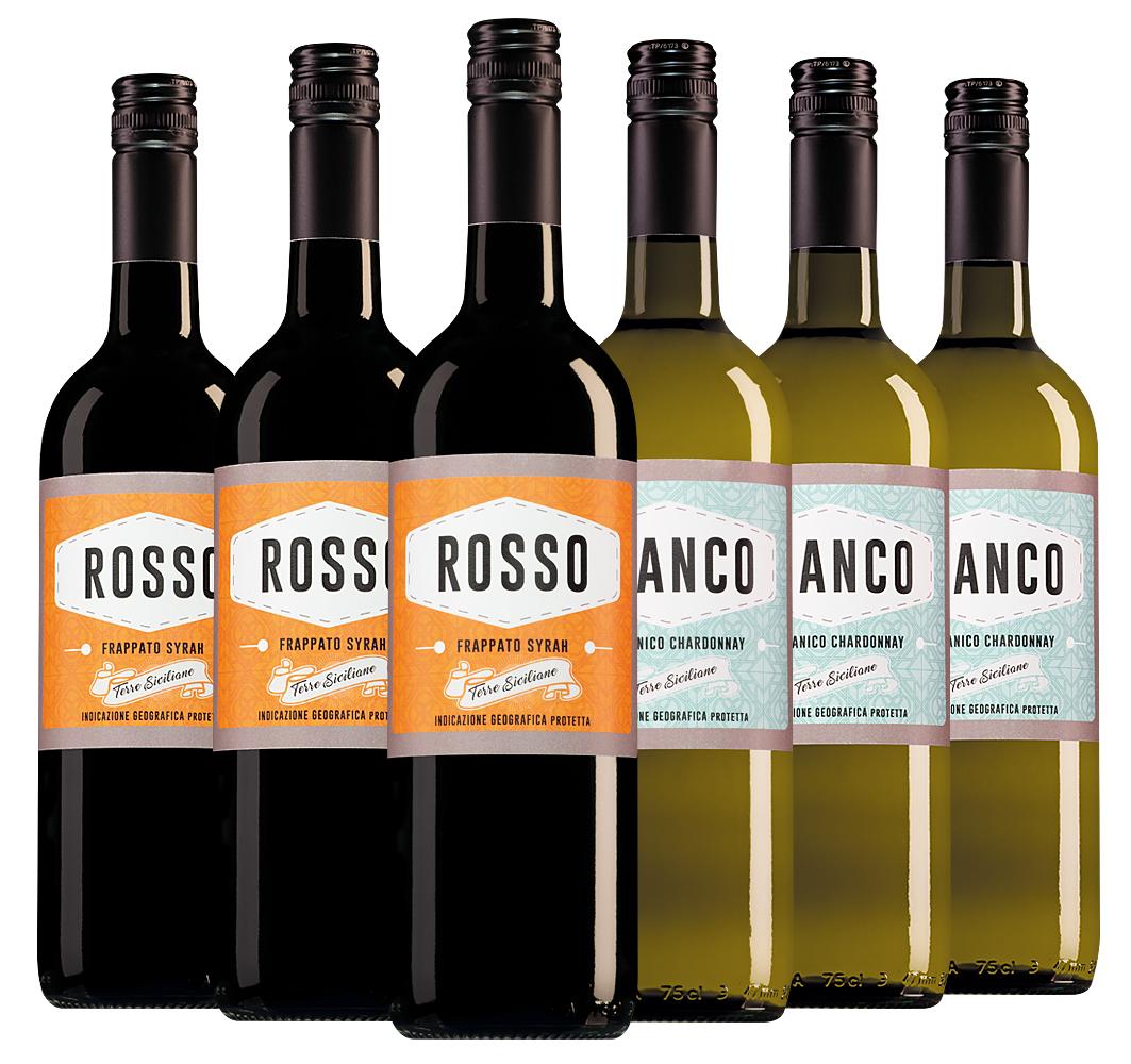 Wijnpakket Caruso & Minini (2x3 flessen)