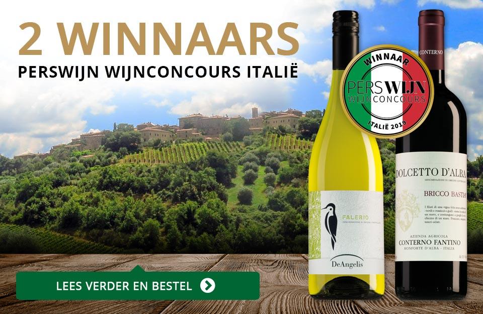 2 Winnaars in het Perswijn Wijnconcours Italië - goud/zwart