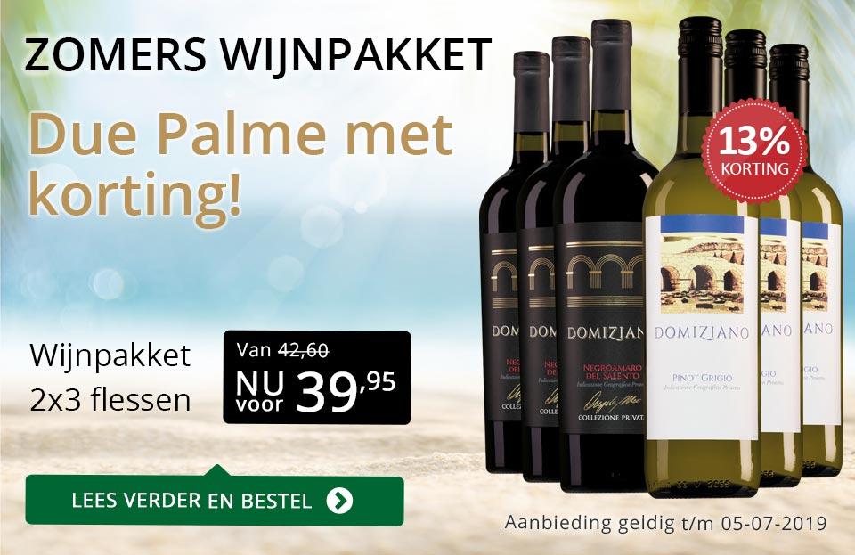 Zomers wijnpakket - Due Palme - goud/zwart