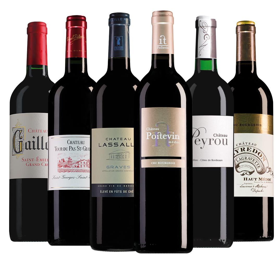 Wijnpakket rode Bordeaux (6 flessen)